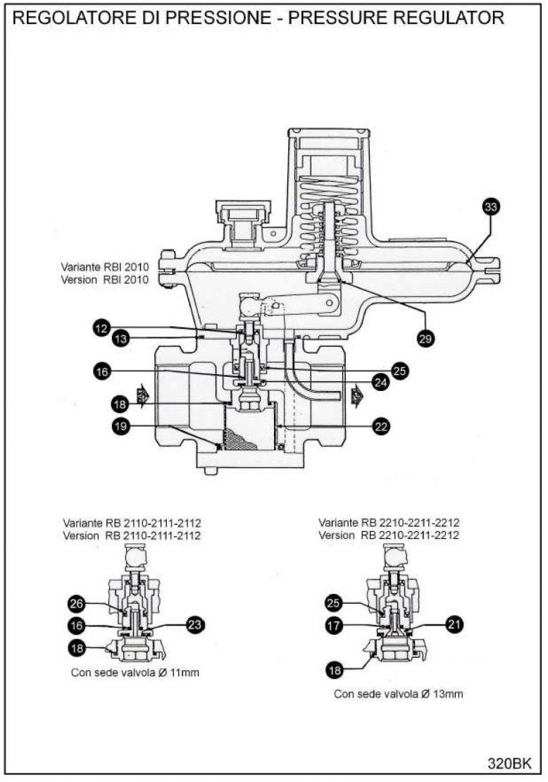 Ремкомплект для регулятора RBE 2000